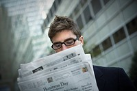 Man reading news paper