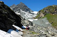Hiking in the mountains of the Pennine Alps, Valais, Switzerland
