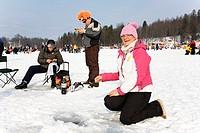 Ice Fishing Competition Goldfish on Lake Pühajärv, Valga County, Estonia, Europe