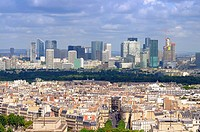 Paris cityscape with Defence district skyscrapers on horizon and old town in the lower part