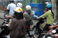 Motorcycle traffic in Hochiminville, Vietnam