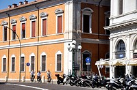 Ferrara (Italy): the street facing the Castello Estense, with the Camera di Commercio (Trade Palace) on the right