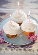 Cupcakes with burning birthday candles, high angle view