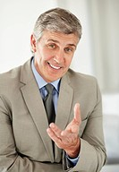 Portrait of cheerful businessman gesturing