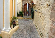 Street corner house entrance old town city of Rhodes Greece