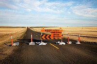Road closed and detour signs, Saskatchewan, Canada