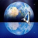 Solar power satellite. Artwork of a future solar power satellite in geostationary Earth orbit. The Earth and Moon top right are reflected in this larg...