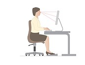 Correct computer use position. Artwork showing the correct posture and positioning of equipment when using a computer at a desk.