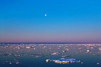 Drift ice and moon, Gael Hamkes Bay, Greenland