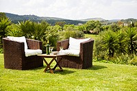 Wicker chairs on lawn