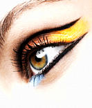 Woman Wearing Colorful Eye Makeup, Close Up