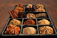 Various spices used in Asian cooking.