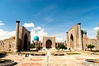 Panoramic view of the Registan, Samarcand, Uzbekistan, Asia