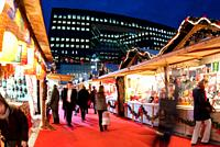 Paris, France, French Christmas Market in La D&#233;fense Business Center, at Night