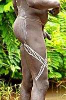 Surma man with body paintings, Tulgit, Omo river valley, Ethiopia