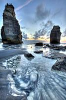 Two Sisters formerly Three sisters until one rock stack fell over, sunset, Tongaporutu, North Taranaki