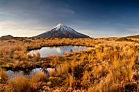 Mt Egmont / Taranaki, panorama at dawn, reflection in small tarn set among tussock slopes of Pouakai range, Taranaki
