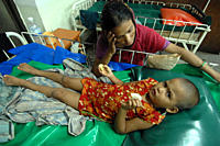 A child with diarrhoeal disease, at the 'International Centre for Diarrhoeal Disease Research, Bangladesh', ICDDR,B, popularly known as 'Cholera Hospi...
