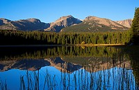Rocky Mountain National Park, Bierstadt Lake at sunrise. This beautiful lake is reachable by sunrise from Estes Park. The hike from Bear Lake trailhea...