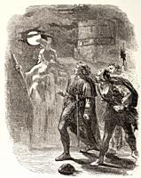 Illustration from Hamlet by William Shakespeare  Hamlet, Horatio and Marcellus see the Ghost  From The Illustrated Library Shakspeare, published Londo...