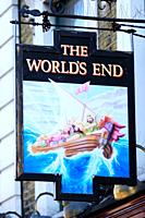 The Worlds End Pub sign, Camden High Street, Camden Town, London, England, UK