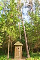 Public toilet in the forest, Nature Reserve Augsdaugava, Latvian State Forest, Kaplava parish, Kraslava district, Latgale, Latvia