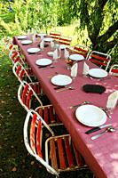 Open-air lunch table, Marcillac, Aveyron, Midi-Pyr&#233;n&#233;es, France