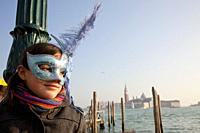 Girl with a blue mask, Venice, Italy