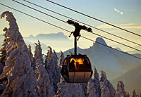 Overhead cable car at Wallberg mountain in the evening light, Bavaria, Germany, Europe