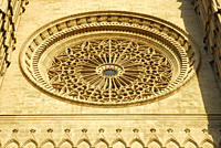 Rosette in the predominantly gothic, western facade of the cathedral La Seu, Ciutat Antiga, Palma de Mallorca, Majorca, Balearic Islands, Mediterranea...