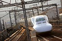 Shinkansen high speed train, Railway station, Kyoto, Japan.