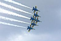 US Navy Flight Demonstration Squadron Blue Angels perform in air show at NAS Jacksonville, Florida