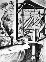 Illustration from Theatrum Machinarum Novum 1661 by Georg Andreas Böckler, A hand operated irrigation pump