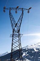 Electrical power tower in the Alps