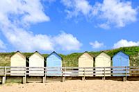 The beach huts at Summerleaze Beach, Bude, Cornwall, England, United Kingdom