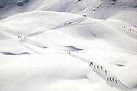 Ski mountaineering at Pale di San Martino, Dolomites, eastern Alps, Trentino Alto Adige, Italy