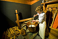 Dairywoman, Caseificio del Gottardo, Airolo, Canton Ticino, Switzerland