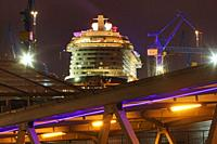 Disney Dream cruise ship in dry dock at Hamburg Harbour, Germany