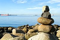 rock sculpture on the beach in Stanley Park, English Bay, Vancouver, BC, Canada