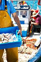 Fisherman holding tray of fresh fish