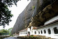 Exterior of Royal Rock Cave Temples, in natural caves in granite, Dambulla, Sri Lanka, Asia