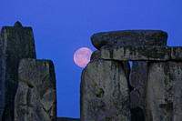 Moon behind Stonehenge, UNESCO World Heritage Site, Wiltshire, England, United Kingdom, Europe
