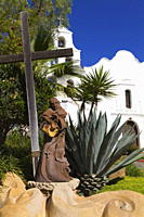 Father Junipero Serra statue, Mission Basilica San Diego de Alcala, San Diego, California, United States of America, North America