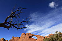 A natural sandstone rock arch in Arches National Park, near Moab, Utah, United States of America, North America