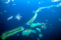 Aerial view of Kuwajelein atol, Marshall Islands N Pacific