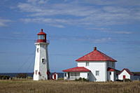 A lighthouse on the island of Havre_Aubert, Iles de la Madeleine Magdalen Islands, Quebec, Canada, North America