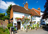 England, Hampshire, Overton. Pretty whitewashed cottages with roses in Overton.