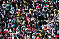 England, Berkshire, Ascot. A large crowd of smartly dressed racegoers in attendance in the Royal Enclosure during day two of Royal Ascot 2010.