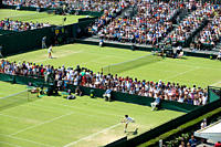 England, London, Wimbledon. Matches on the southern courts including Courts 6 and 5 in the foreground at the Wimbledon Tennis Championships 2010.