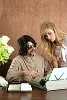 mustache retro businessman sexy blond secretary office